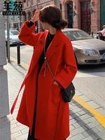 high end double sided cashmere tweed coat womens medium length 21 autumn winter new leisure wool woolen temperament coat