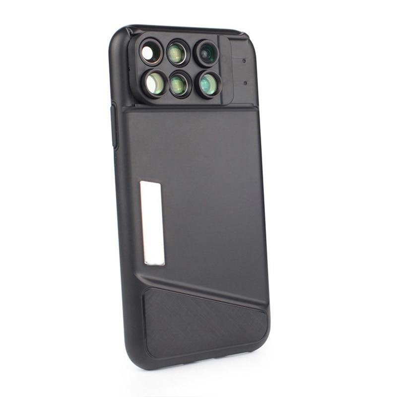6in1 Cell Phone Camera Lens Kit Wide Angle Telephoto lens Macro lens Fisheye Lenses For iPhone X 7/8 Plus lens phone case cover