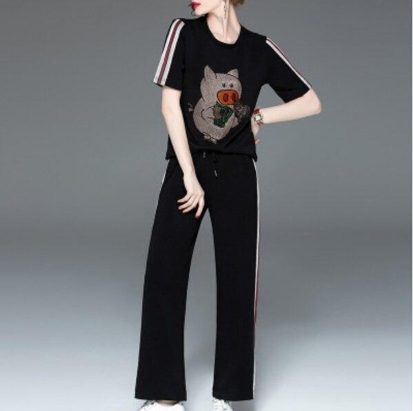 بدلة رياضية كورية سوداء من قطعتين للنساء ، ملابس رياضية مرصعة بالألماس ، بلوزة وسراويل غير رسمية