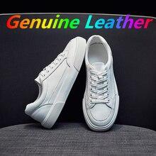 Women's Casual Vulcanize Shoes White Genuine Leather 2021 Sport Walking Running Summer Platform Flat
