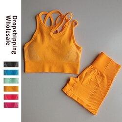 Vital sem costura conjunto de ginásio roupas de treino das mulheres manga curta colheita topos calções de fitness esportes wear ginásio roupas 2 pcs esporte terno