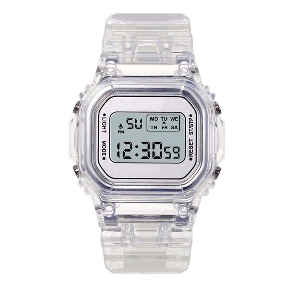 Fashion Men Women Watches Gold Casual Transparent Digital Sport Watch Lover's Gift Clock Children Kid's Wristwatch Female Clock