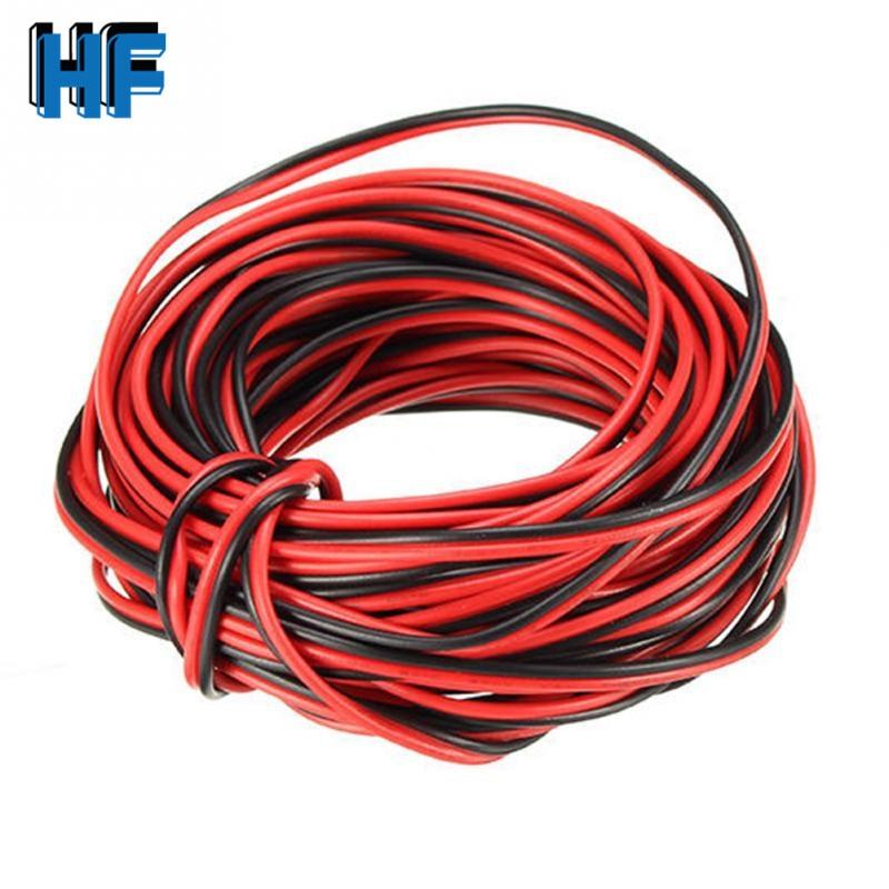 5 м Электронный электрический медный резиновый светодиодный провод кабель красный черный 2Pin изолированный Удлинительный шнур автомобильный аудио кабель колонка, проводной кабель