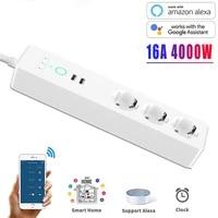 Adaptateur WIFI Smart Power stri3  prise ue  avec 2 ports de chargement USB  application de synchronisation  commande vocale  fonctionne avec Alexa Google Home Assistant