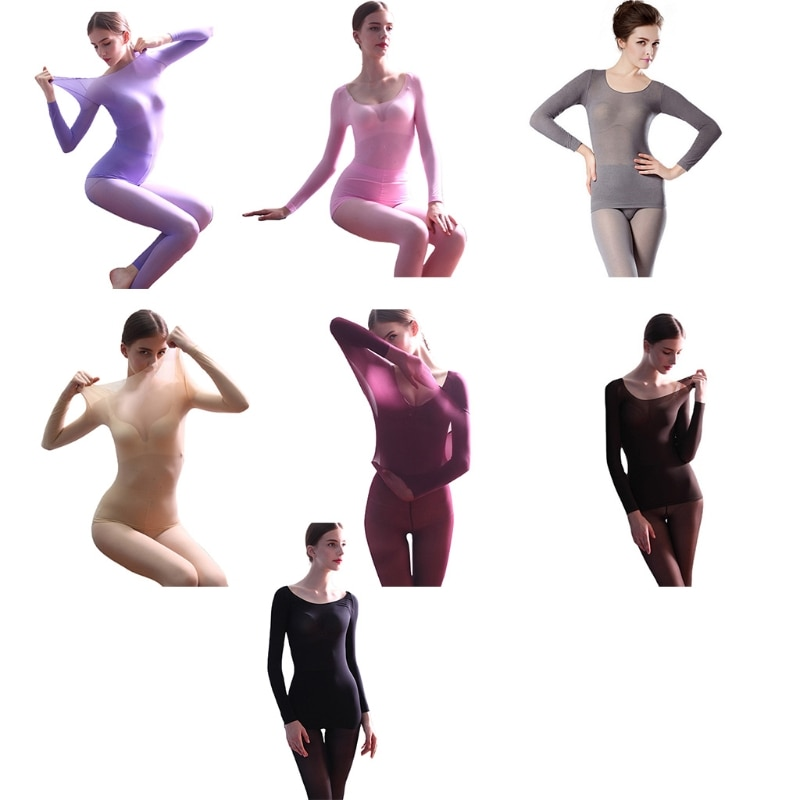 X5XD Women Seamless Thin Constant Thermal Underwear Set Base Layer Scoop Neck Pajamas