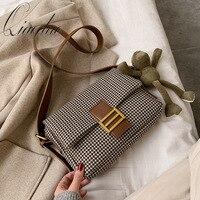 Qiaoduo Brand Designer Women Lattice Shoulder Crossbody Bag Fashion Temperament Small Square Package Chic Portable Tide