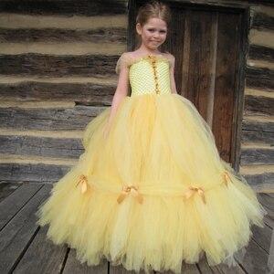 Girls Yellow Bella Princess Tutu Dress Kids Crochet Tulle Evening Dress Ball Gown Children Birthday Party Banquet Costume Dress