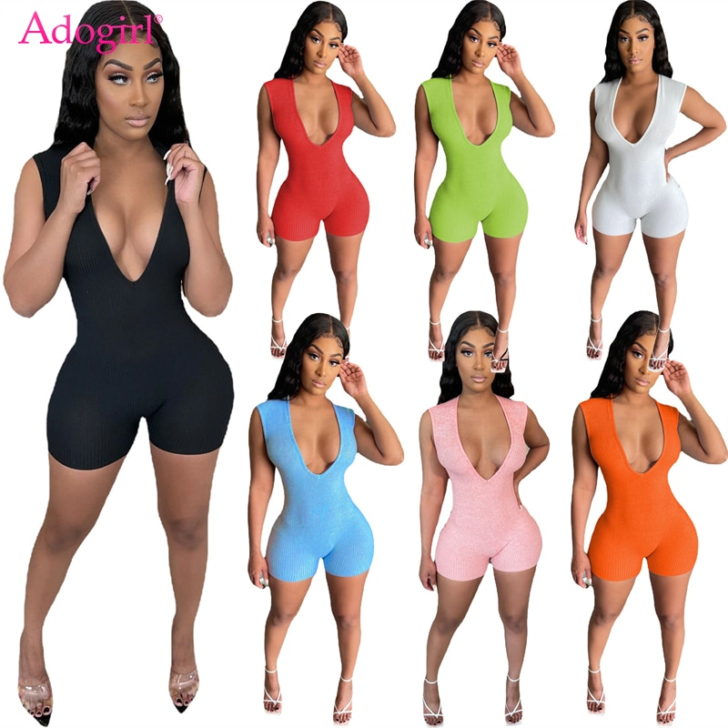 Adogirl Solid Ribbed Women Sexy Jumpsuit Deep V Neck Sleeveless Shorts Romper Casual Active Playsuit