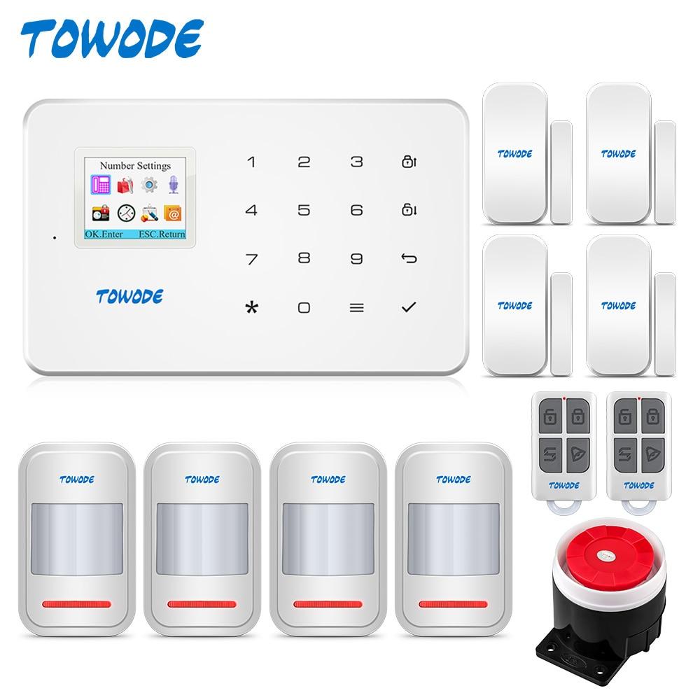 TOWODE G18 Built-in Antenna Alarm PIR Motion Detector Wireless Smoke Flash Siren LCD GSM SIM Card House Security Alarm System