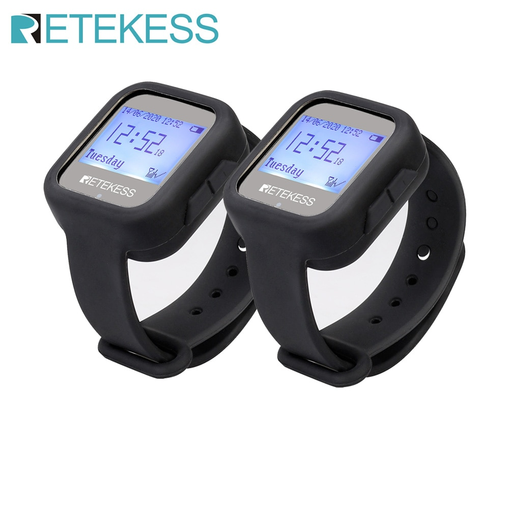 2pcs Retekess TD106 Wireless Waterproof Watch Receivers Waiter Call Restaurant Pager 433MHz Equipmen