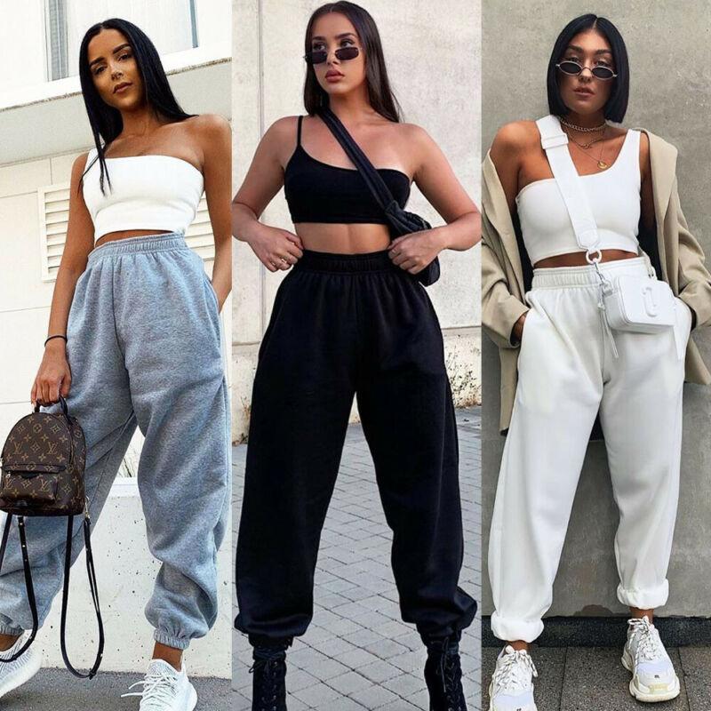 Women Harem Pants Casual High Sweatpants Baggy Long Trousers Sport Female Two Pocket Tracksuit Elast
