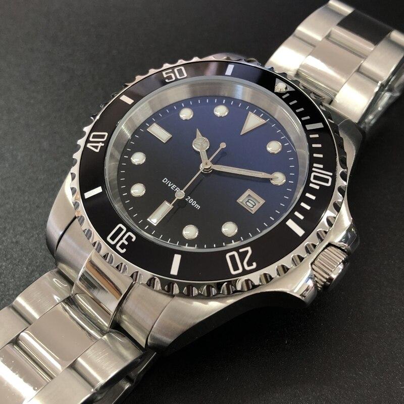 Steeldive1987p-qz vogue de novo fundo de água gradiente fantasma men relógio de quartzo clássico atividade de negócios 200 m mergulho à prova dwaterproof água