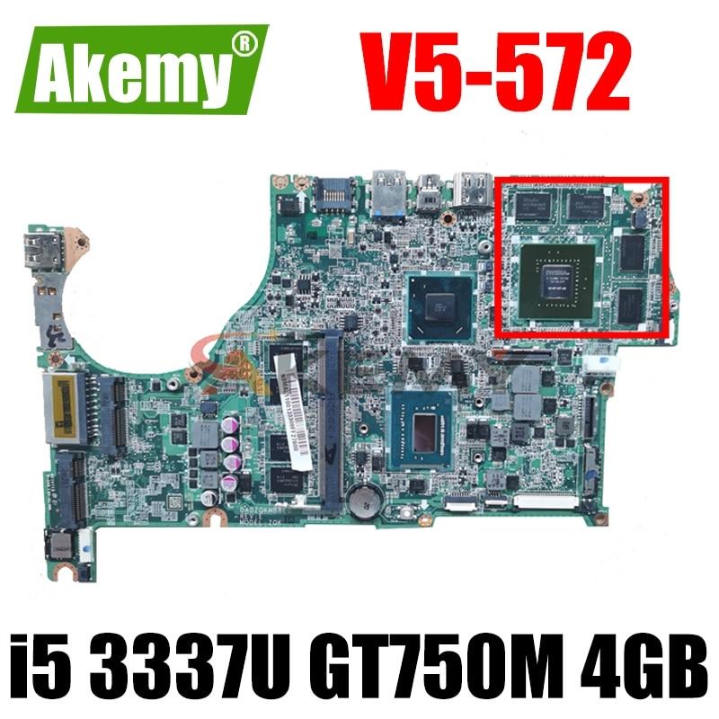 DA0ZQKMB8E0 для ACER V5-572 G V5-472 G материнская плата ноутбука Процессор i5 3337U GPU GT750M 4 Гб Оперативная память 4 Гб Тесты ок материнская плата