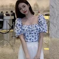 women floral shirt vintage square neck bubble sleeve blouse summer short sleeve lace up short tops