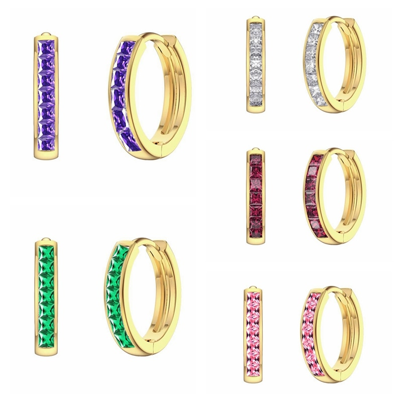 Женские серьги CANNER 2021, простые серьги-кольца из циркония фиолетового/зеленого/белого цвета