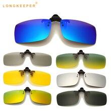 LongKeeper Clip On Polarized Sunglasses Men Women Yellow Night Vision Sun Glasses Anti-Glare Driver