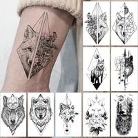 waterproof temporary tattoo sticker wolf totem flowers geometry simple lines flash tatoo fake tatto for body art women men