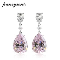 pansysen charms 10ct water drop created moissanite pink sapphire wedding engagement drop earrings wholesale fine jewelry gift