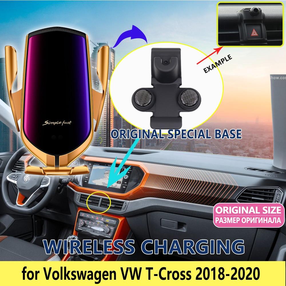 Soporte de teléfono móvil para coche para Volkswagen VW t-cross 2018 2019 2020 soporte de teléfono con carga de pie accesorios de ventilación de aire para iphone