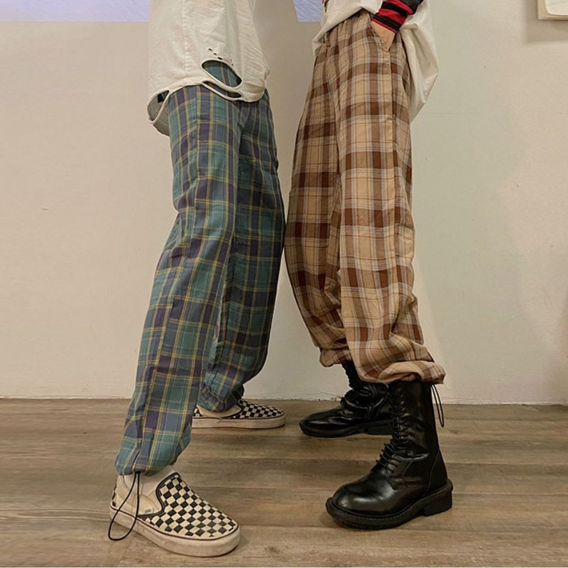Japanese Harajuku Y2K Hippie Palazzo Pants Women BF Style Classic Retro 90s Streetwear Plaid Trousers Female Korean Trousers