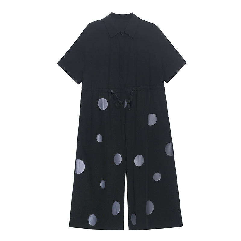 Patchwork Dot Plus Size Drawstring Black Jumpsuits Women Clothes Summer New Polo Collar Calf Length Pants enlarge