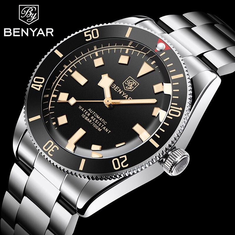 BENYAR الرجال موضة ساعات آلية الفولاذ المقاوم للصدأ 100 متر مقاوم للماء الرياضة الرجال التلقائي ساعة اليد الفاخرة العلامة التجارية