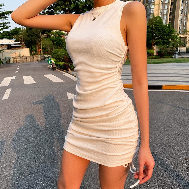Spring New Sexy Tank Bodycon Dress Women Solid Sleeveless Mini Hip For 2021 Summer Pleated