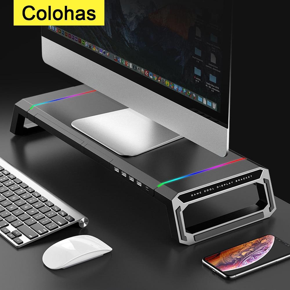 RGB مراقب حامل الناهض مع USB Hub العالمي سطح المكتب حامل الكمبيوتر المحمول قوس للكمبيوتر ألعاب ماك بوك دفتر محمول حامل