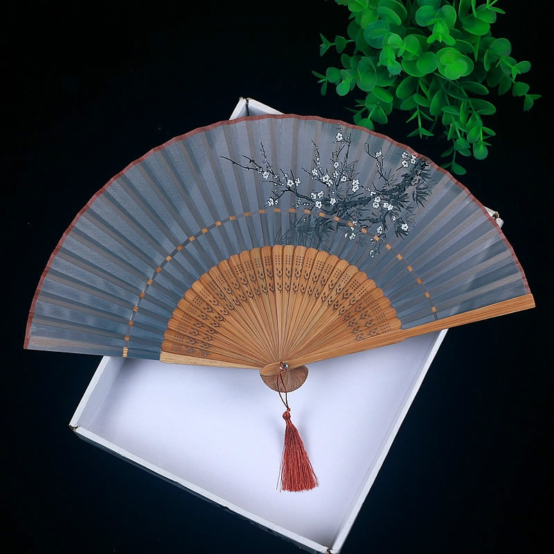 Ventilador plegable pequeño de seda Para mujer, accesorio de mano de bambú,...