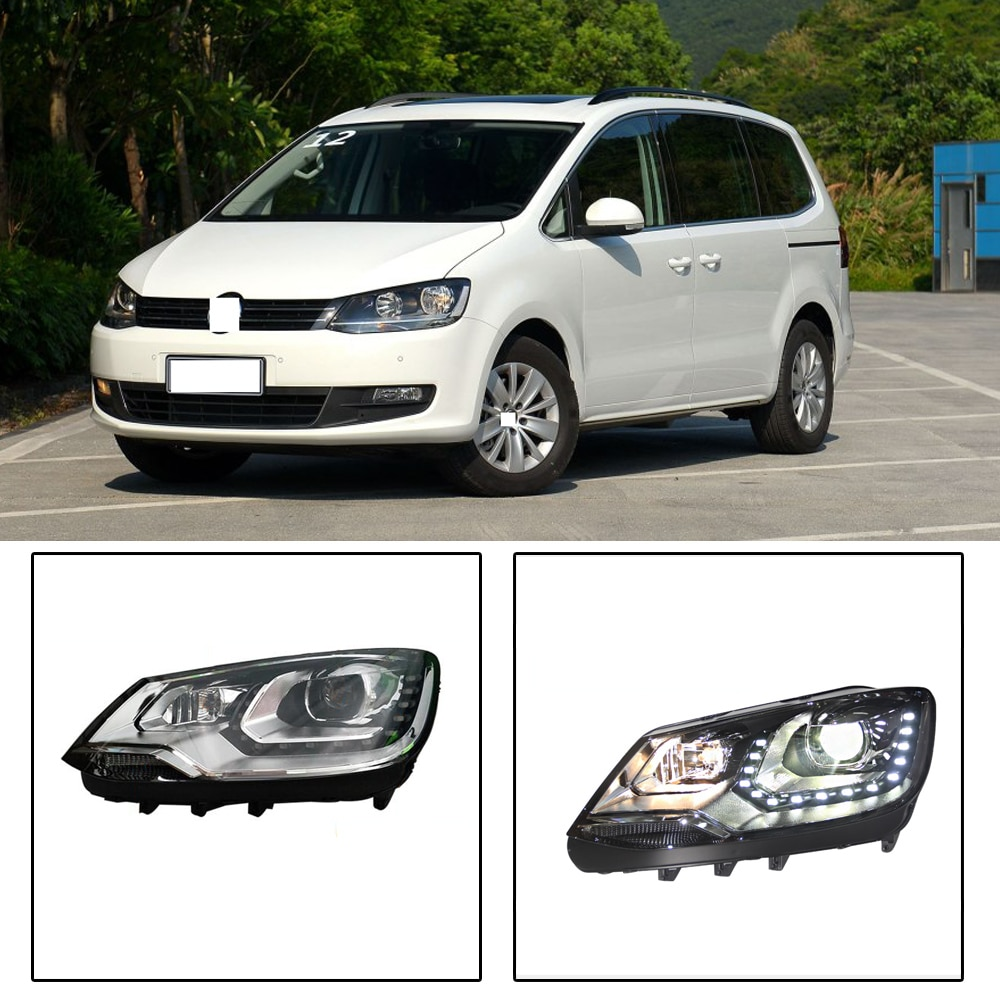 Capqx 2 pçs para volkswagen tiguan sharan 2012 2014 2015 2016 2017 led farol cabeça luz conjunto da lâmpada lente xenon