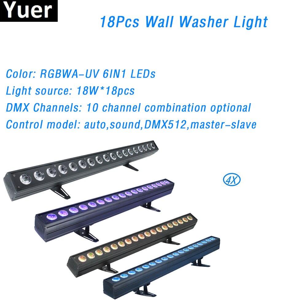 Светодиодный светильник 4 шт./лот, 18x18 Вт, фонарь DMX512 6 в 1, настенный светильник для домашних развлечений, профессиональный диджейский светил...