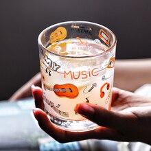 Tasse en verre pour thé au lait   Notes musicales de Piano créatif, verre à whisky, verre à Cocktail personnalisé