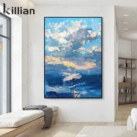 abstract landscape painting oil painting sea landscape wall canvas painting modern blue sky office hotel living room decor poste