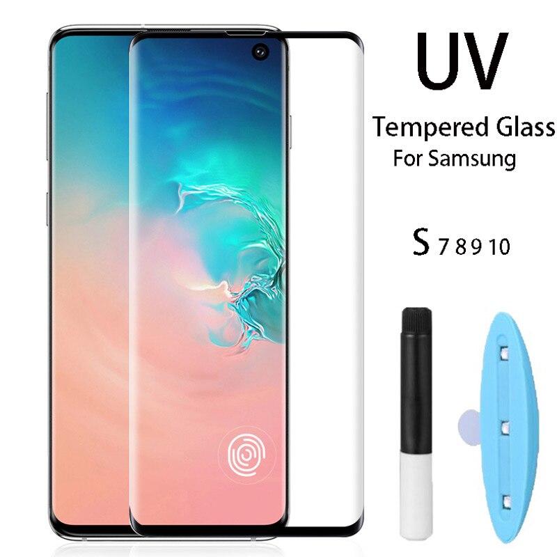Cristal templado de pegamento completo UV para Samsung S8 S9 S10 Plus Protector de pantalla para Samsung Galaxy Note 8 9 10 pro plus S7 borde + herramientas