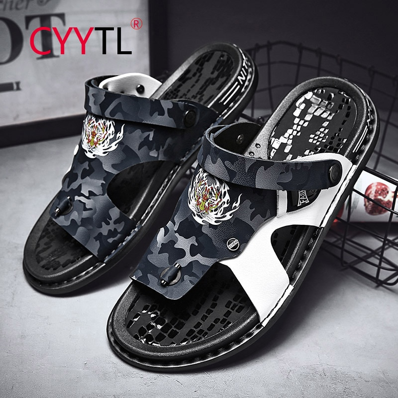 CYYTL Tiger Head Men Summer Leather Flip Flops Fashion Soft Outdoor Open-toe Sandals Breathable Beach Dual-use Slippers