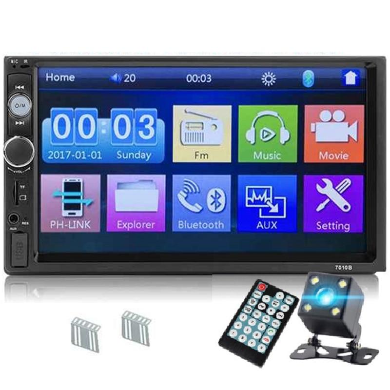 7010B 2 Din coche Radio 7 pulgadas reproductor Mp5 Pantalla de contacto Bluetooth Multimedia espejo Android coche cámara de respaldo Monitor (4 LED)
