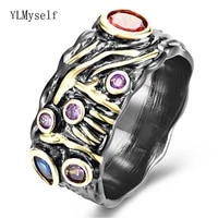 cool 2 tone blackgold ring with multiple zircon stones hip hop rock wide band finger rings unisex jewelry