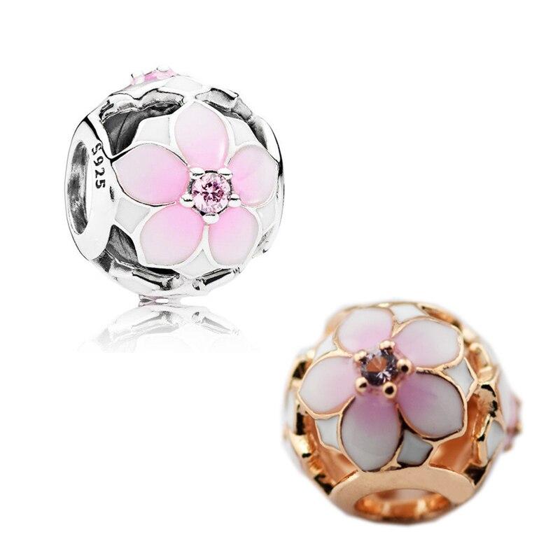 2 cores magnolia flor rosa flor contas de cor para encantos pulseiras prata 925 original diy charme grânulos para fazer jóias