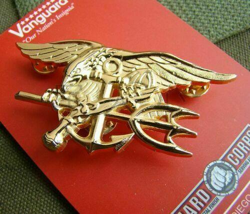 US Navy militar al aire libre águila ancla Tridente placa de Metal Insignia Golden armyshop2008