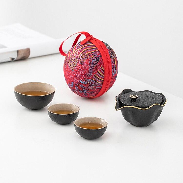 طقم شاي خمر المحمولة الفاخرة الصينية المحمولة السفر الخزف طقم شاي صندوق هدايا المطبخ Juego دي تي teبينة مجموعات DI50CJ