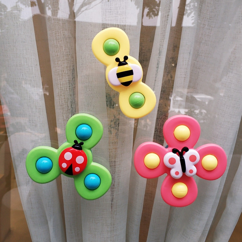 3pcs Cartoon Insect Fidget Spinner Baby Rattle Toys ABS Colorful Gyro Toy Relief Stress Fingertip Toys For Children Adults Gifts enlarge