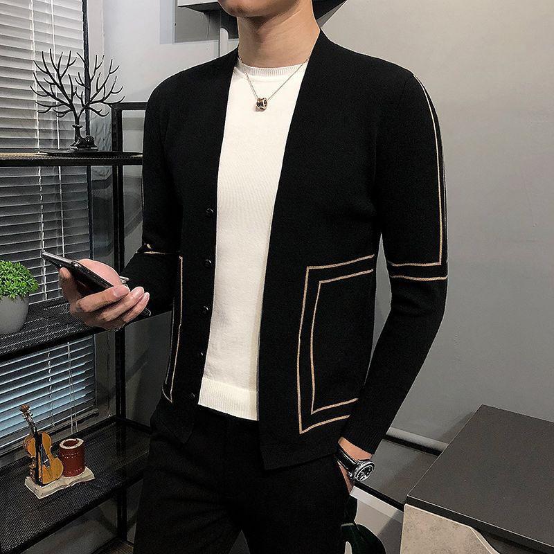 Мужской свитер, пальто, весна и осень 2020, Новая корейская модная красивая верхняя одежда, тонкий свитер, мужской вязаный кардиган