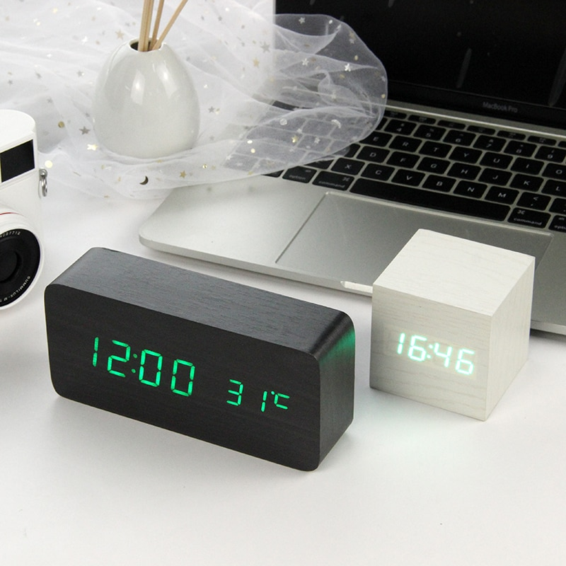 Reloj Despertador LED de madera, reloj de mesa con Control de voz, Despertador Digital de madera para escritorio electrónico, relojes alimentados por USB/AAA, Decoración de mesa