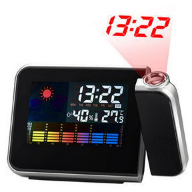 Цифровые часы с ЖК-дисплеем, проекционный будильник с функцией повтора погоды, светодиодная подсветка, цветной дисплей, электронные цифров...