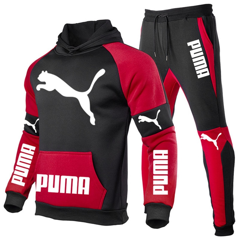 2021 Brand SportswearNew Autumn AndWinter Men's Sets Patchwork Hoodies+Pants PUMA Sport Suits Casual Sweatshirts Tracksuit S-3XL
