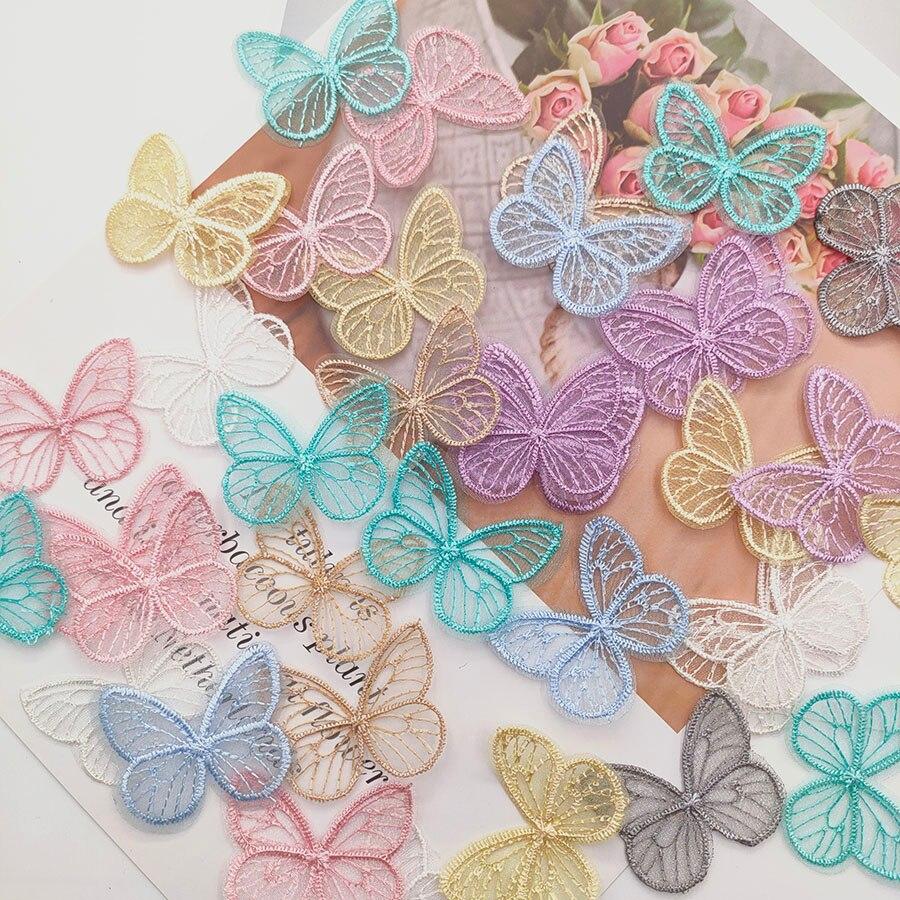 18 pçs/lote 4.5*3.5cm bordado malha borboleta pano remendos apliques para roupas costura suprimentos diy grampo de cabelo acessórios