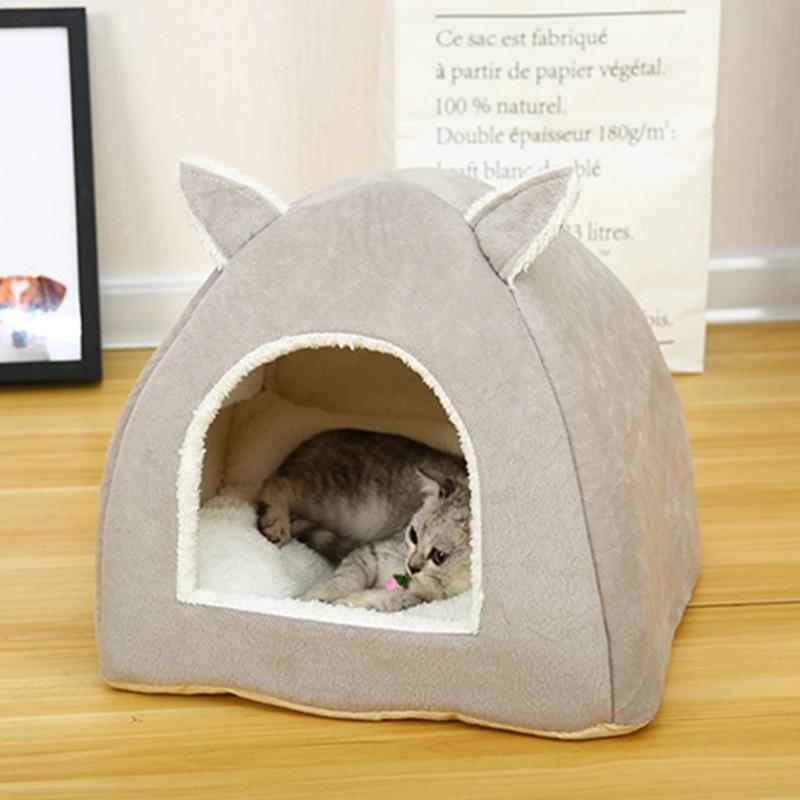 Saco de dormir para cama de gato de todas las estaciones con colchón extraíble, tienda de campaña para casa de mascota suave y cálida, nido de gato, perrera para mascotas