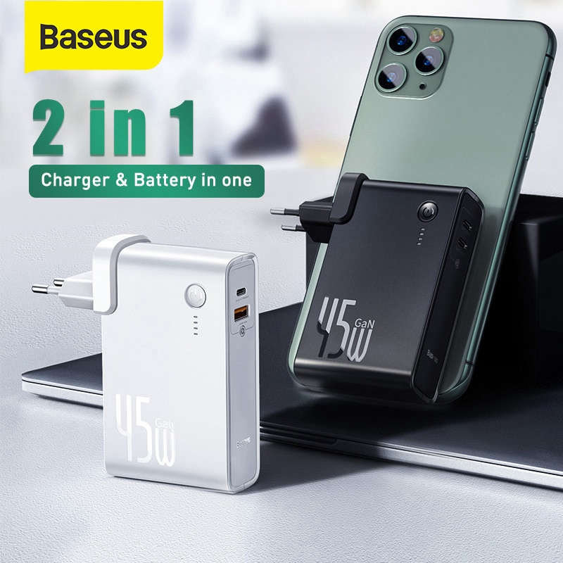 Baseus GaN Power Bank Charger 10000mAh 45W USB C PD Fast Charging 2 in 1 Charger & Battery as One Fo