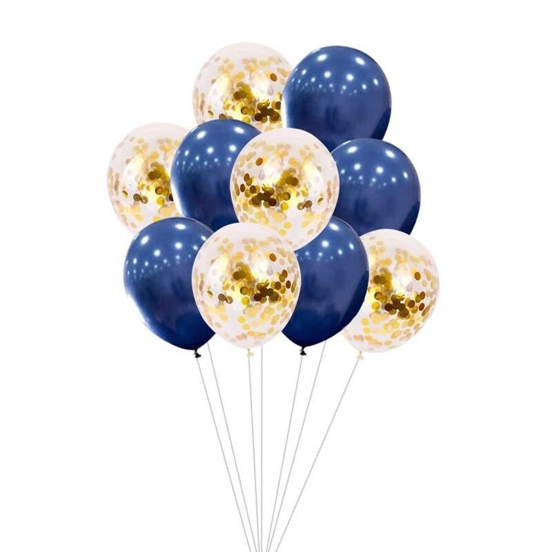 30 Uds DIY globos de papel azul marino dorado de 12 pulgadas con confeti rosa para bodas, cumpleaños, Baby Shower, suministros para fiestas