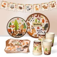 patimate woodland tableware woodland animal party safari jungle party happy birthday party decor kids birthday party supplies